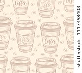 hand drawn coffee cups seamless ... | Shutterstock .eps vector #1117498403