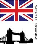 british flag and tower bridge...   Shutterstock .eps vector #111763847