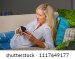 beautiful and happy blond woman ... | Shutterstock . vector #1117649177