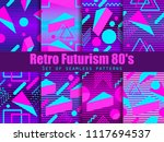 retro futurism seamless pattern ... | Shutterstock .eps vector #1117694537