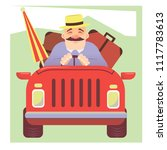 man driving car on road trip...   Shutterstock .eps vector #1117783613