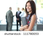 face of beautiful woman on the... | Shutterstock . vector #111780053