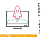 computer monitor with a rocket...   Shutterstock .eps vector #1117820573