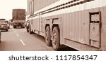 a large truck is running on the ... | Shutterstock . vector #1117854347