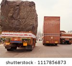 large goods carrier long... | Shutterstock . vector #1117856873