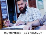 bearded hipster businessman...   Shutterstock . vector #1117865207