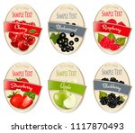 set of labels of berries and... | Shutterstock .eps vector #1117870493