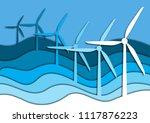 windmills in the sea or ocean... | Shutterstock .eps vector #1117876223