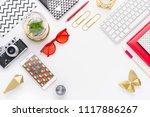top view tablet  smartphone ...   Shutterstock . vector #1117886267