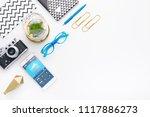 top view tablet  smartphone ...   Shutterstock . vector #1117886273