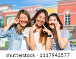 happy young asian women group... | Shutterstock . vector #1117942577