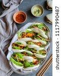 homemade asian vegetarian...   Shutterstock . vector #1117990487