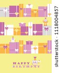 happy owl birthday card design. ... | Shutterstock .eps vector #1118004857
