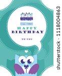 happy owl birthday card design. ... | Shutterstock .eps vector #1118004863