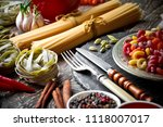 pasta in a composition with... | Shutterstock . vector #1118007017