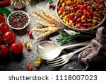 pasta in a composition with... | Shutterstock . vector #1118007023