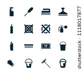 cleaning icon. collection of 16 ... | Shutterstock .eps vector #1118017877
