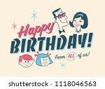 vintage style birthday card  ... | Shutterstock .eps vector #1118046563