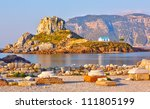 View on little island Kastri near Kos, Greece - stock photo