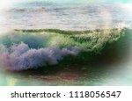 blue wave on the beach. blur... | Shutterstock . vector #1118056547