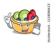 with phone fruit tart character ... | Shutterstock .eps vector #1118086613