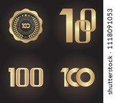 100 years golden anniversary...   Shutterstock .eps vector #1118091053
