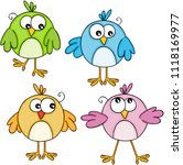 set of colorful cute birds  | Shutterstock .eps vector #1118169977