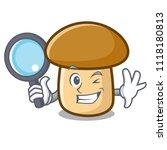 detective porcini mushroom... | Shutterstock .eps vector #1118180813