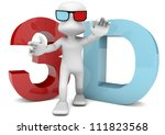 character with 3D glasses for cinema or images, walking in front of a large print with 3D text - stock photo