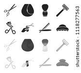scissors  brush  razor and... | Shutterstock .eps vector #1118277563