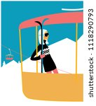 woman with skies on the skiing... | Shutterstock .eps vector #1118290793