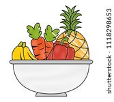 bowl with fruits and vegetables | Shutterstock .eps vector #1118298653