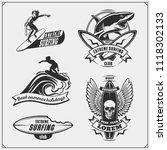 set of surfing emblems  labels... | Shutterstock .eps vector #1118302133