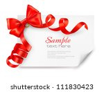 card with red gift bow with... | Shutterstock .eps vector #111830423