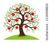 apple tree on hill  nature... | Shutterstock .eps vector #1118308823