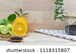 fresh lemons and lime with copy ... | Shutterstock . vector #1118315807