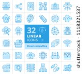 linear icon set of cloud... | Shutterstock .eps vector #1118321537