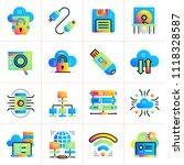 gradient flat icons set of... | Shutterstock .eps vector #1118328587