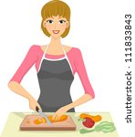 illustration of a woman slicing ... | Shutterstock .eps vector #111833843