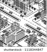 perspective isometric city | Shutterstock .eps vector #1118344847
