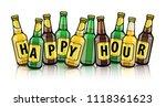free beer bottles with happy... | Shutterstock .eps vector #1118361623