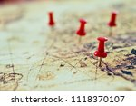 group of pins on old map. | Shutterstock . vector #1118370107