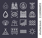 set of 16 nature outline icons  | Shutterstock .eps vector #1118386853