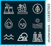 set of 9 nature outline icons... | Shutterstock .eps vector #1118387003