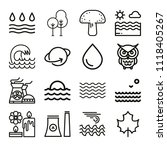 set of 16 nature outline icons... | Shutterstock .eps vector #1118405267