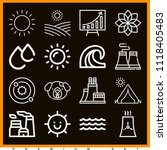 set of 16 nature outline icons... | Shutterstock .eps vector #1118405483