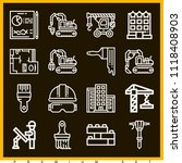 set of 16 construction outline... | Shutterstock .eps vector #1118408903