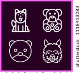 set of 4 animals outline icons... | Shutterstock .eps vector #1118413283