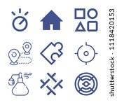 set of 9 shapes outline icons... | Shutterstock .eps vector #1118420153