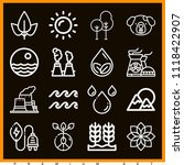 set of 16 nature outline icons... | Shutterstock .eps vector #1118422907